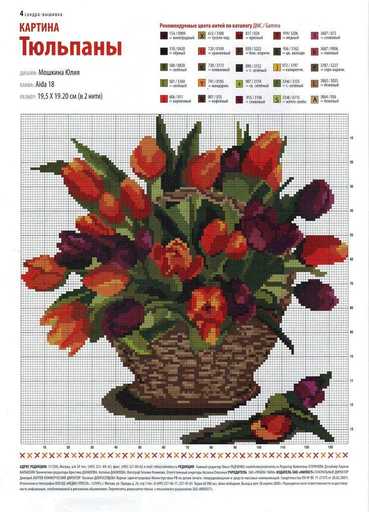 Flower Baskets Cross Stitch Charts : Best vases images on punto croce
