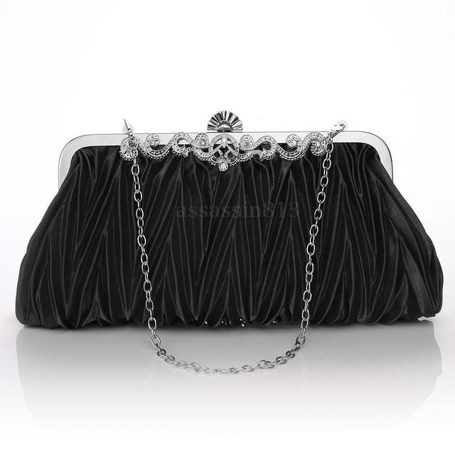 Womens Ladies Satin Crystal Wedding Bridal Party Prom Evening Clutch Bag Handbag