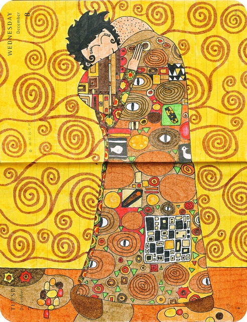 Enrich't option for Klimt tree project: have kiddos create their own 'hugging' portrait as shown to glue next to/on top of tree