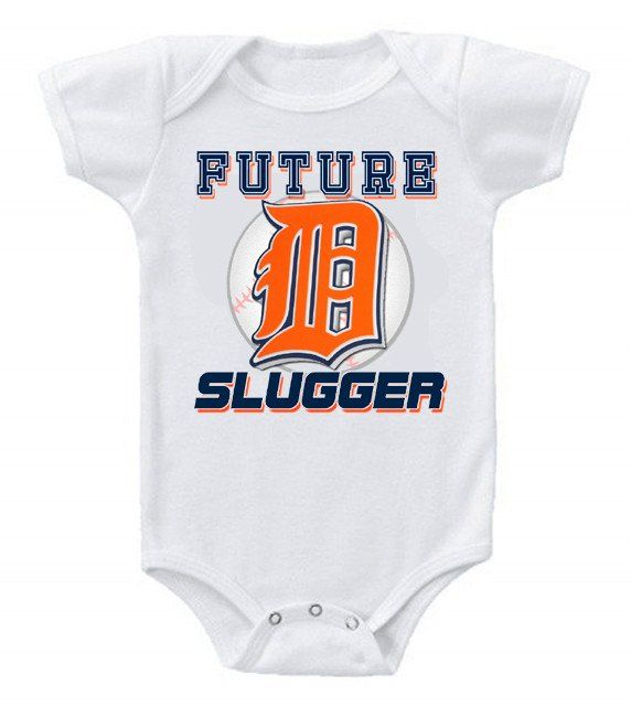 New Cute Funny Baby One Piece Bodysuit Baseball Future Slugger MLB Detroit Tigers #3