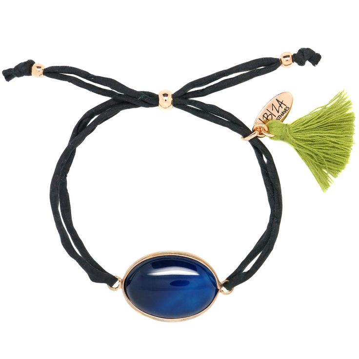 Midnight Blue Agaat Edelsteen Zijde Armband ♡ available at www.ibizamusthaves.nl
