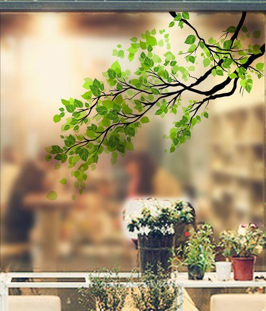 Зеленый Лист Филиал Стекло Стикер Завод Настенные Матовое Стекло Пленка Полупрозрачная Раздвижная Дверь Оконная Пленка ПВХ Home Decor