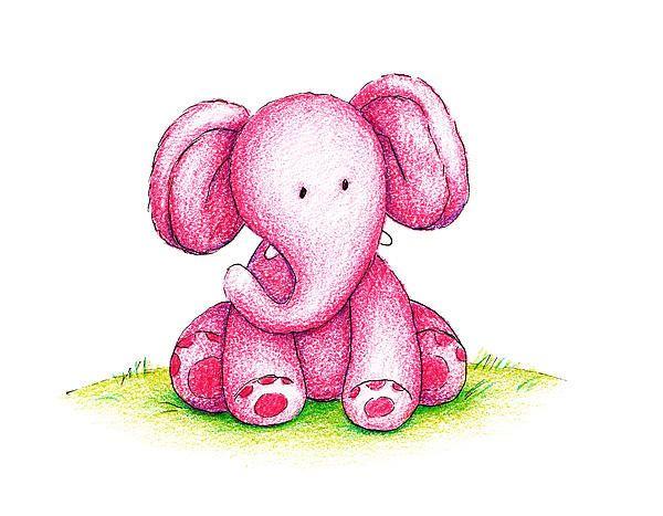 Cartoon Elephants Pink Elephant On A Green Lawn Poster