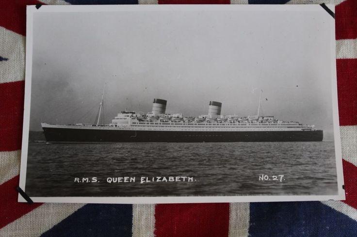 RMS Queen Elizabeth Vintage Postcard