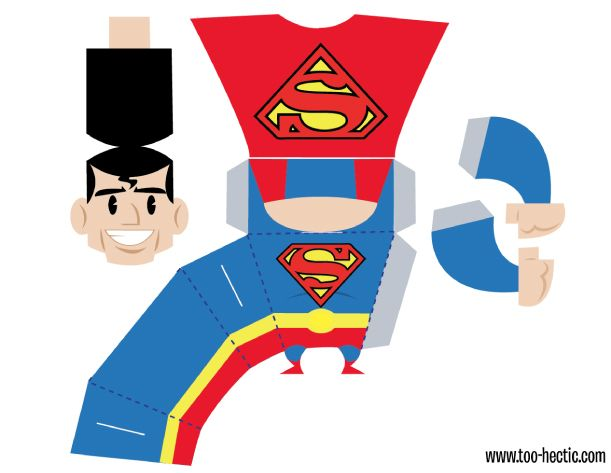 Blog Paper Toy papertoy Superman Zachary Trover template preview Superman de Zachary Trover