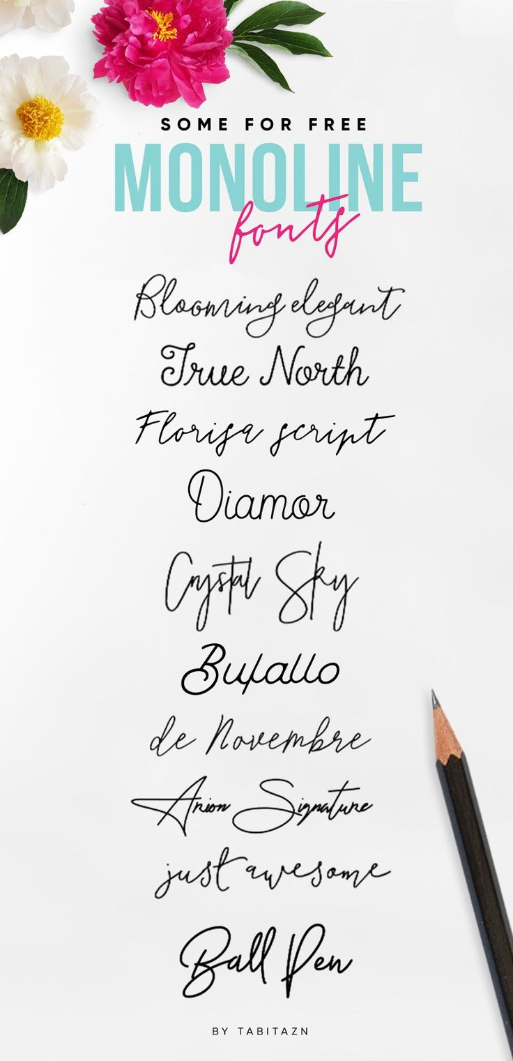 Monoline signature hand-lettered scripts will add an artistic handmade feel to your projects. I would like to share with you my favourite list of them. Some of them are for free, some of them you have to buy but they will not definitely ruin your budget (none of them costs more than 20 bugs and they are really great!) Tabita's world