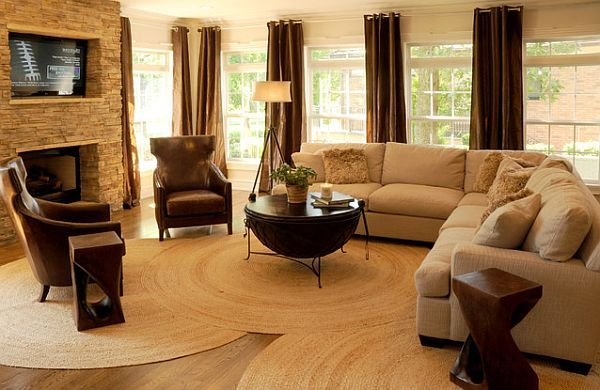 Love the overlapping jute rugs for a big livingroom. A cheap and natural solution.