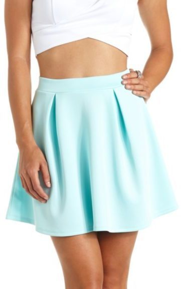 $16, Charlotte Russe Pleated High Waisted Skater Skirt. Sold by Charlotte Russe. Click for more info: https://lookastic.com/women/shop_items/55169/redirect