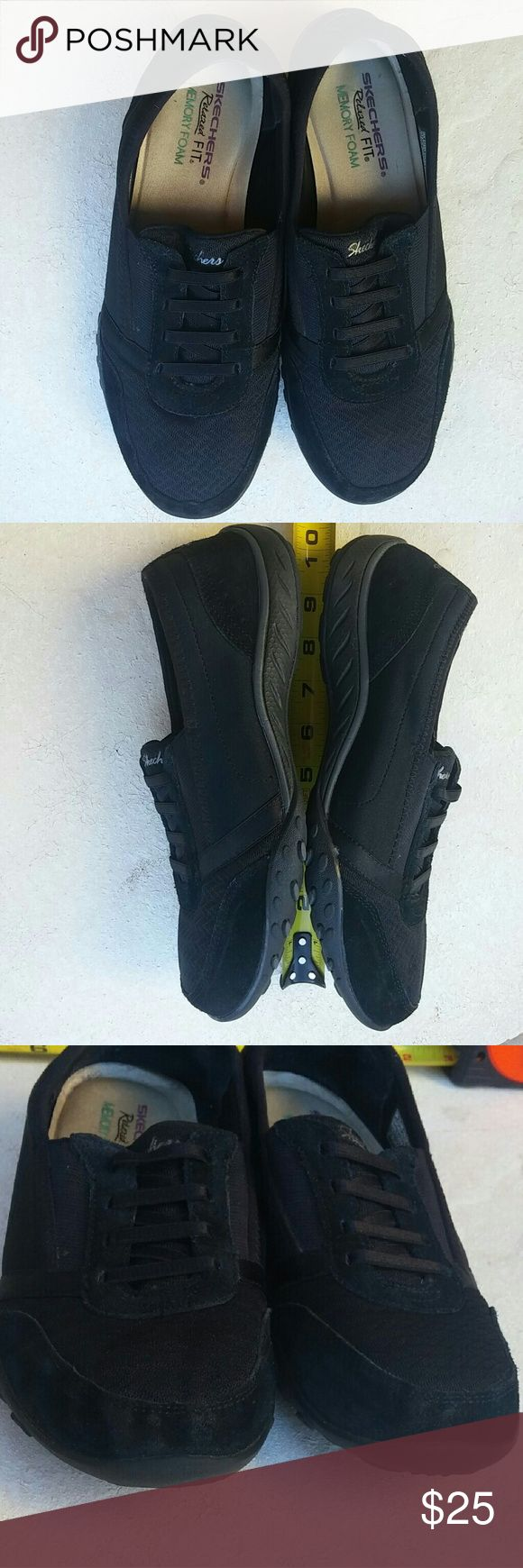 Skechers memory foam shoes Relaxed FIT Skechers black shoes with memory foam, used have has discoloration, but in great shape.  Size us 7.5 Eu 37.5 Skechers Shoes Sneakers