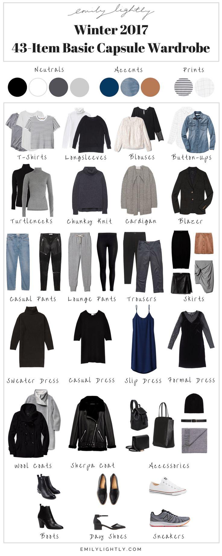 Winter 2017 - 43-Item Basic Capsule Wardrobe // Emily Lightly - capsule wardrobe, slow fashion, minimalist style #wardrobebasics2017