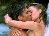 Cocktail (1988)--While working at a Jamaican bar after a falling out with his best friend-buddy Doug, bartender Brian Flanagan (Tom Cruise) finds romance with vacationing aspiring NYC artist/waitress Jordan Mooney (Elisabeth Shue); during a waterfall swimming scene, their passions ignite after a kiss when both remove their swimming suits underwater and they kiss again alltimegreatestsmooches foodstuff-i-love