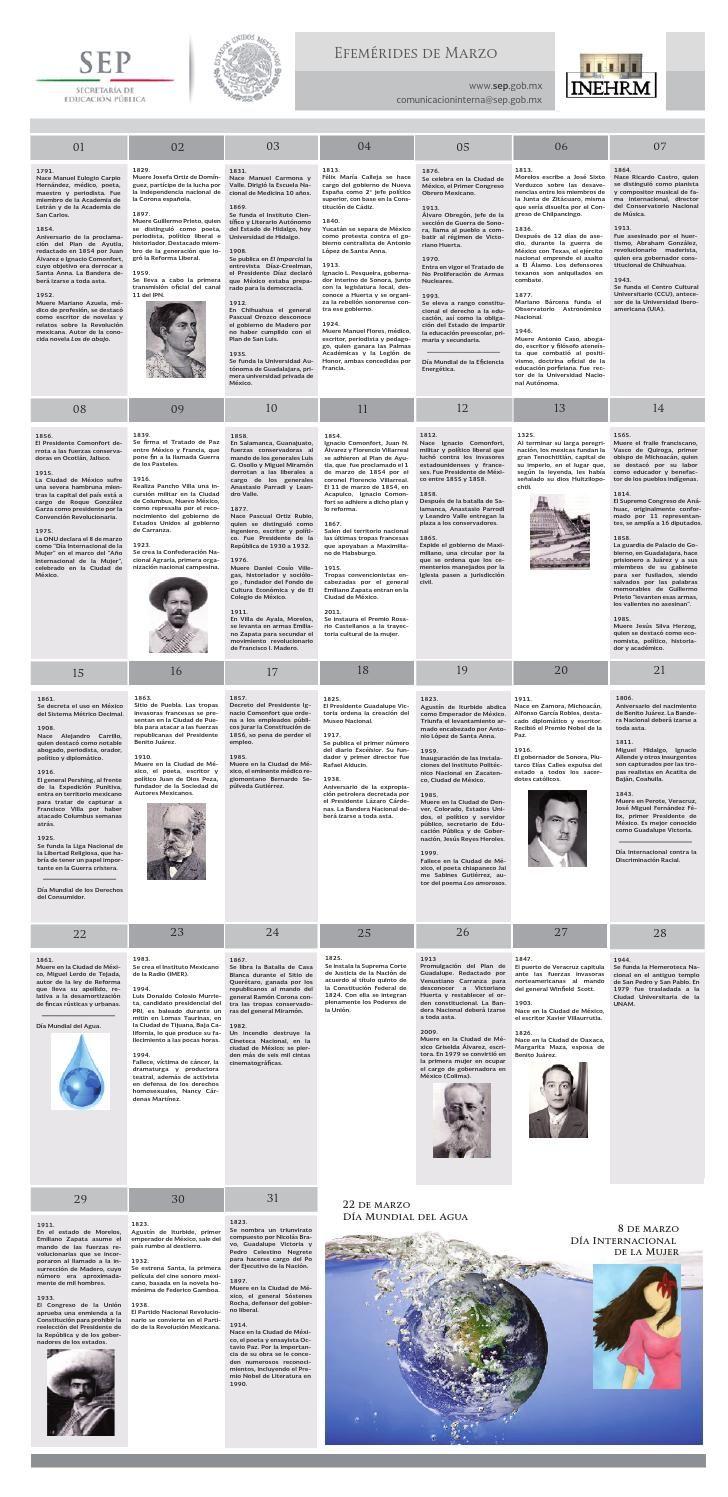 EFEMÉRIDES DE MARZO SEP INEHRM  Efemérides del mes de marzo publicadas por el Instituto Nacional de Estudios Históricos de las Revoluciones de México de  la Secretaría de Educación Pública
