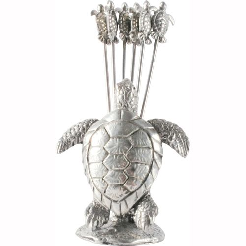 The extraordinary detail in our Pewter Sea Turtle Cheese Picks set is due to the amazing versatility of Vagabond House pewter.