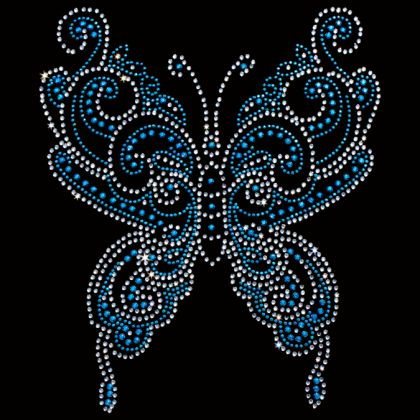 8x10  - Blue Swirly Rhinestone/Rhinestud Butterfly - butterfly rhinestones rhinestuds, Flowers Butterflies and Birds, Material Transfer, Butterflies