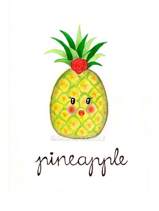 Pineapple fruit art print. Tropical nursery art decor. Pineapple watercolor painting. Cute pineapple illustration Whimsical kitchen food art by MartaDalloul on Etsy https://www.etsy.com/listing/238090119/pineapple-fruit-art-print-tropical