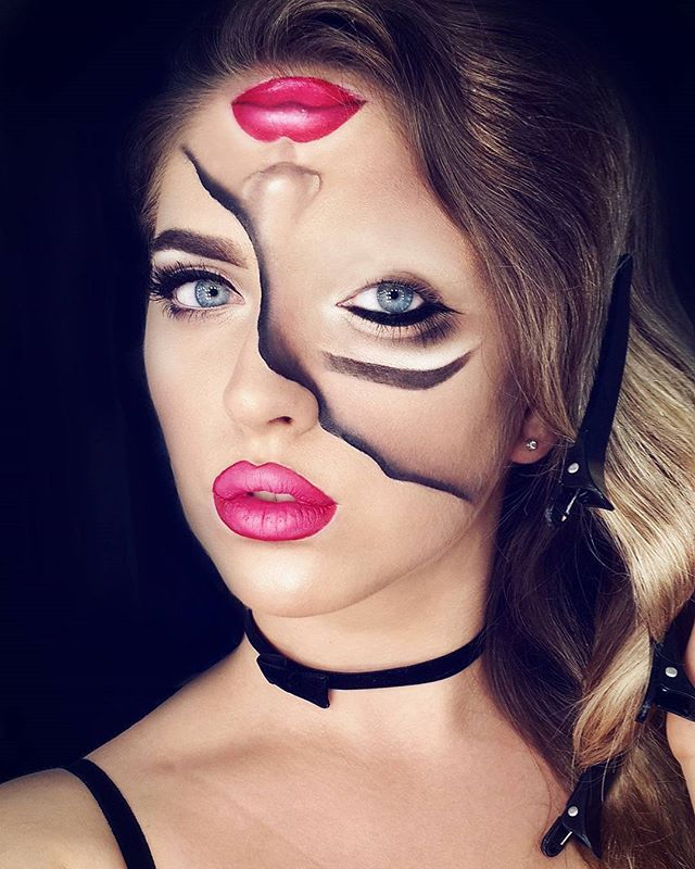 Pin for Later: 20 of the Scariest, Goriest Halloween Costumes Using Makeup (NSFW!) Two Faced
