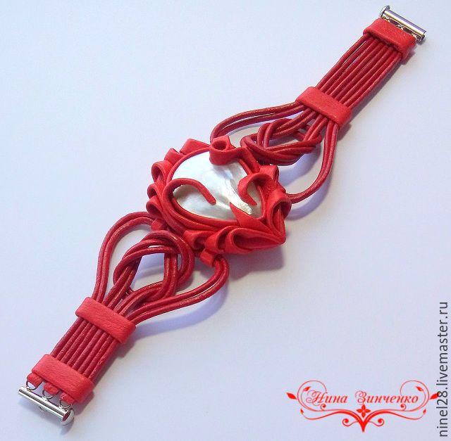 """Купить Кожаный браслет """"В красном"""" - браслет с камнем купить, кожаный браслет, женский браслет"""
