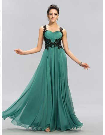 Sheer Illusion Neck Lace Appliques Empire Long A Line Pleated Jade Green Chiffon Prom Dress