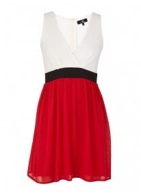 Colourblocked Dress Red