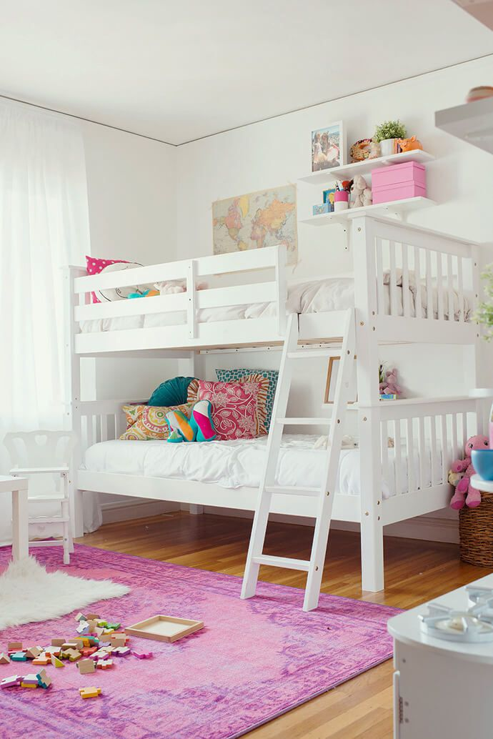 Touring The Wonderfully Whimsical Home Of Kate Brightbill | Whimsical, Pink  rug and White bunk beds