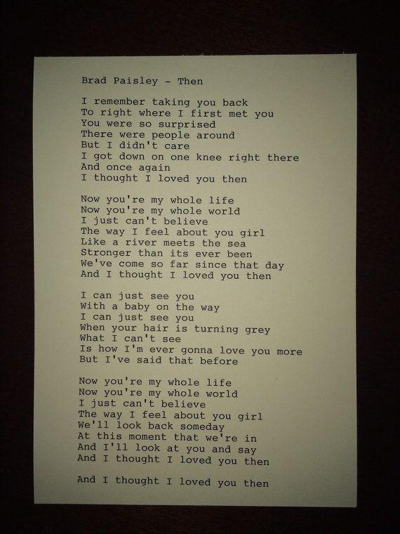 Brad Paisley: Then Lyrics Original Typography by TypographyByMel