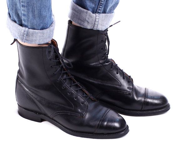 Black Brogue Derby Boot 90s Grunge Calf Ankle by BetaApparel