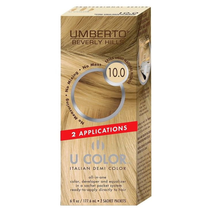 Umberto Beverly Hills U Color Italian Demi Hair Color - 10.0 Extra Light Natural Blonde - 1 Kit