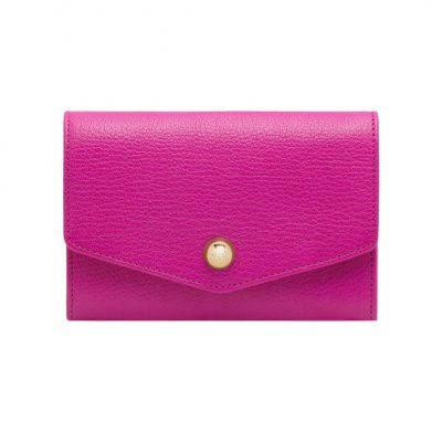 2013 Mulberry Dome Rivet French Purse Mulberry Pink Glossy Goat