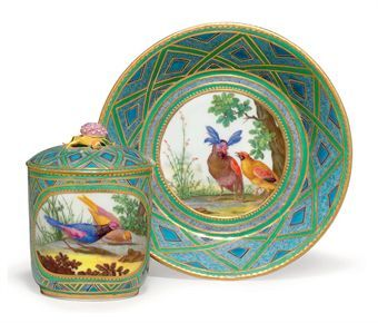 A SEVRES PORCELAIN BLUE AND GREEN TRELLIS-GROUND CUP, COVER AND STAND (GOBELET 'COUVERT', 1ERE GRANDEUR)