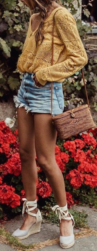 #summer #outfit / Embroidered Long Sleeve Blouse + Espadrille Shoes