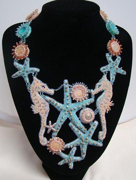 Seahorse and starfish seed bead necklace. by Jan Cahill *magnificent!*