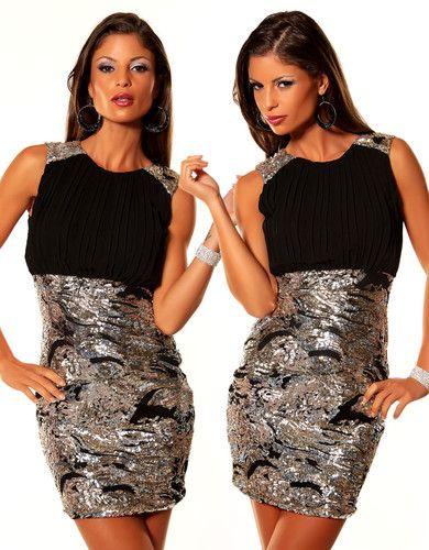 Kleid in eng anliegender, taillierter Form  Brustbereich aus Chiffon mit Plissee   Rock & Träger mit kontrastfarbenen Pailletten  Material : 100% Polyester  Farbe : Schwarz/ Gold