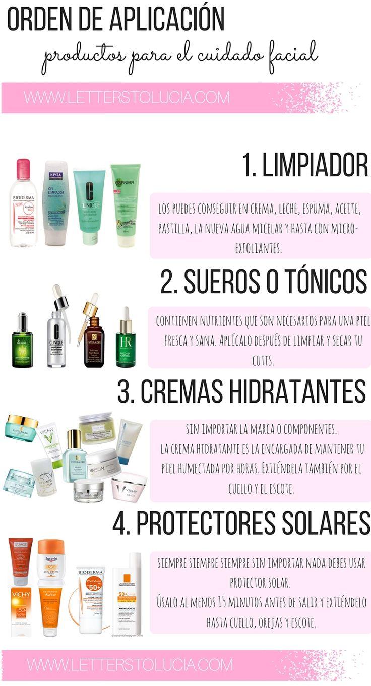 Orden de aplicación productos para el cuidado facial