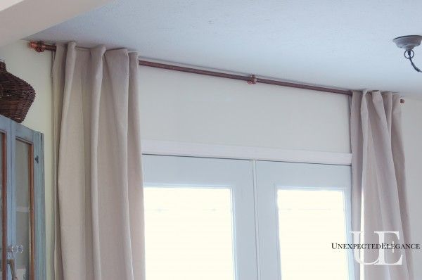 Diy Copper Curtain Rod For My French Doors Diy Curtain Rods Doors And Kitchen Upgrades