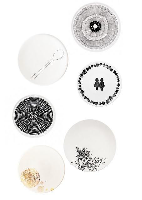 plates - black&white - gold - lovely
