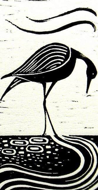 Wader Lino Print by Mangle Prints, via Flickr Amanda Colville