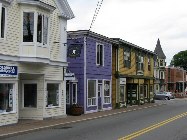 The Town of Liverpool, Nova Scotia is filled with old buildings. This is a view of some of the buildings that lione thye main street.