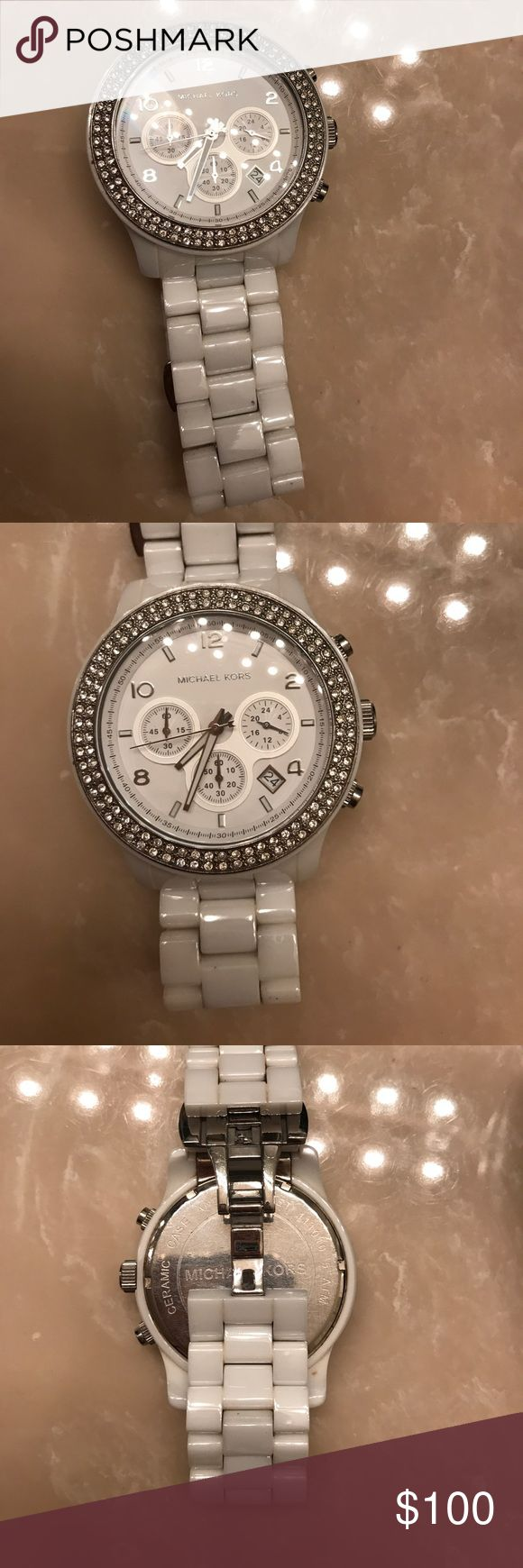 Ceramic Michael kors White big face watch Used Michael kors ceramic white watch. In great condition just needs new battery. Bought for 400$ 4 years ago. Michael Kors Jewelry Bracelets
