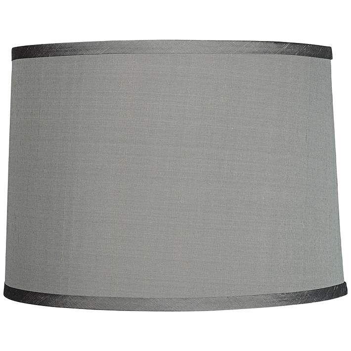 Platinum Gray Dupioni Silk Lamp Shade 13x14x10 (Spider)
