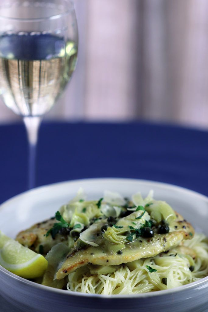 Citrus Pepper Chicken with Artichokes, Capers and Angel Hair Pasta!