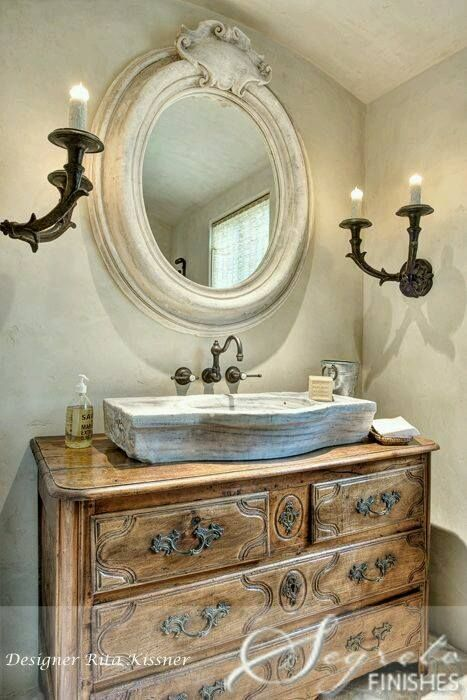 even the country french bathroom can be elegant