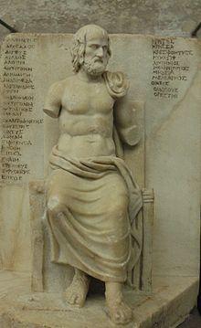 Statuette d'Euripide assis avec la liste de ses oeuvres, IIe siècle - Musée du Louvre