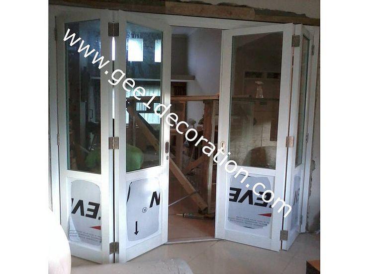 pintu lipat kaca frame aluminium