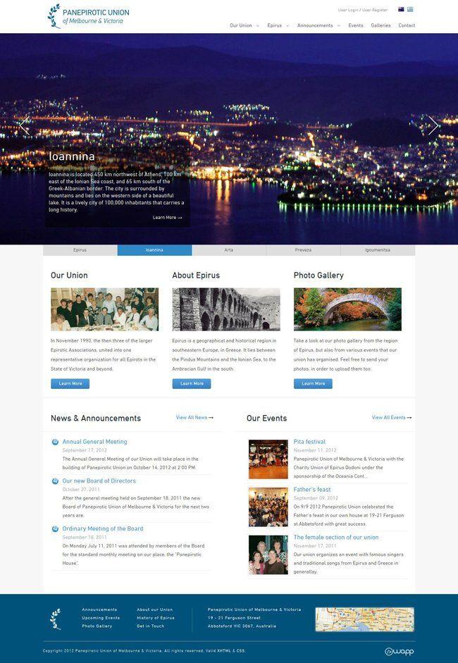 Website for Panepirotic Union of Melbourne & Victoria in Australia