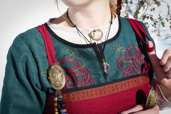 Viking dress Freya viking apron linen dress natural by NothernFox