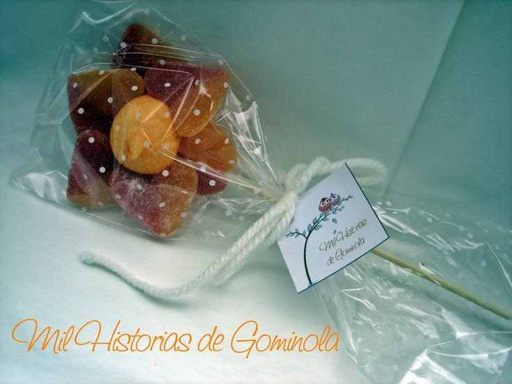 Brochetas chuches / gominolas / naranja / flor / bautizo / boda / comunion