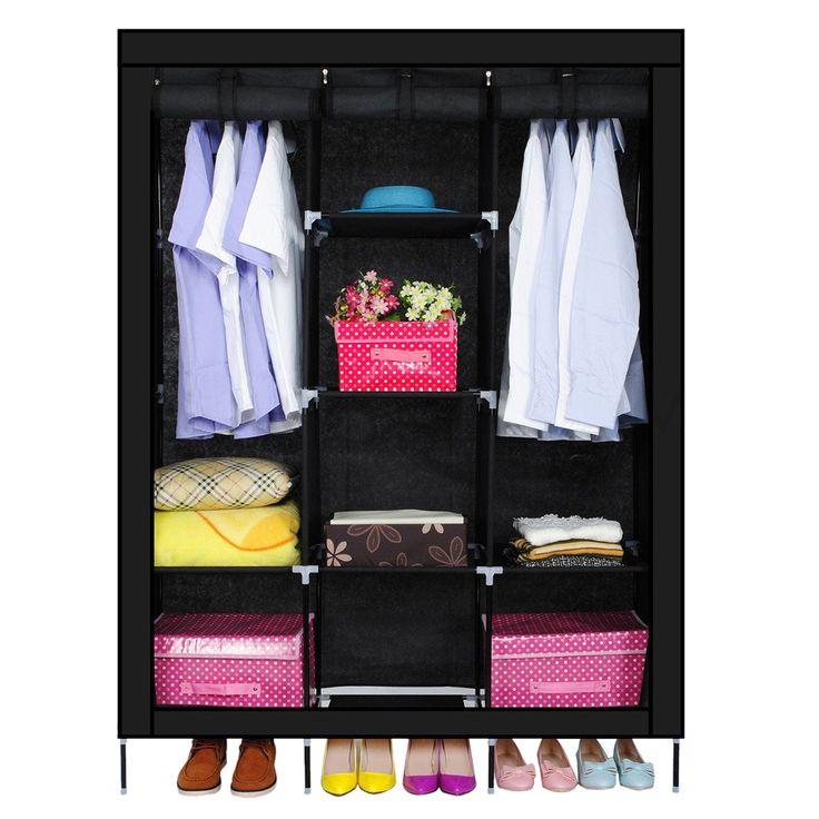 Baru Tiga Tenunan Lemari Pakaian Penyimpanan Pakaian Rumah Bedroom Decor Wardrobesblack
