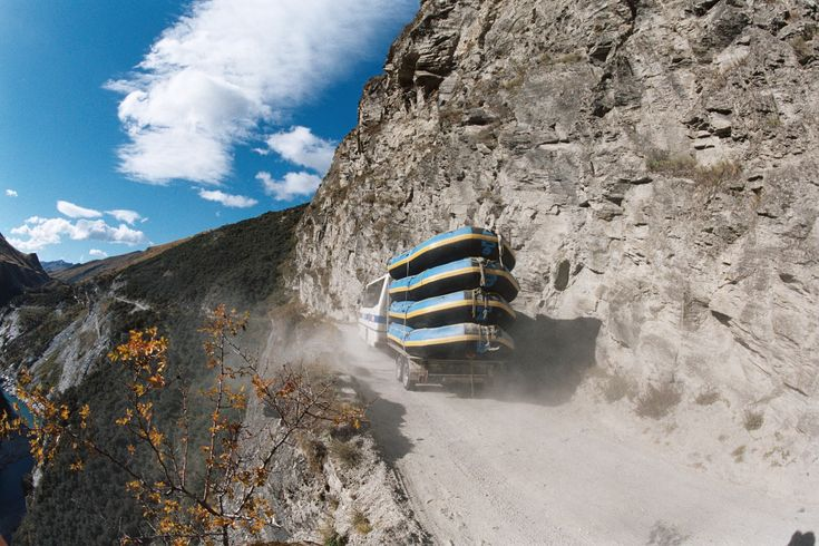Ride the bus into Skippers Canyon to reach the famous Shotover River Rafting trip