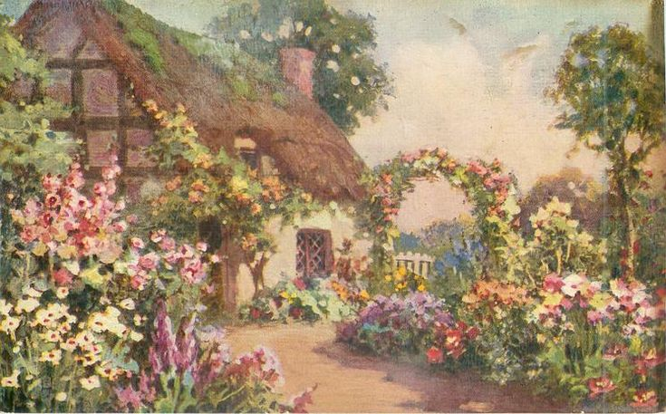 garden in front of thatched cottage, path  leading past open door with orange roses above, towards arch with  roses above, tree to far right