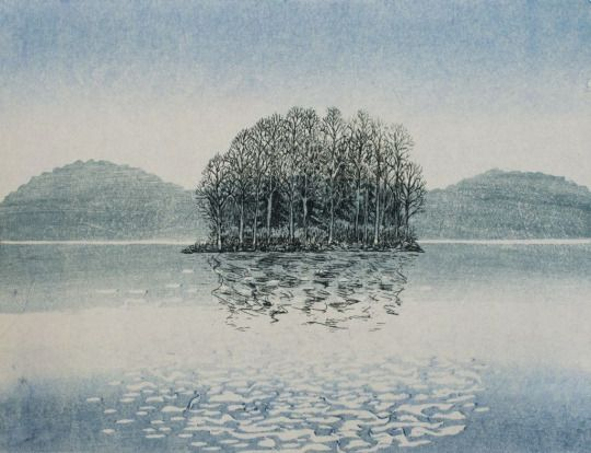 Inari Krohn(Finnish, b.1945) Saari näkyy läpi /Transparent Island 2014 Vesiväripuupiirros